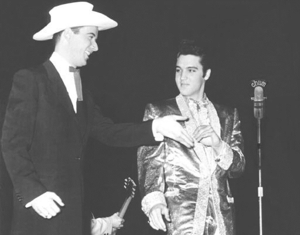 CHUM 1050 host Josh King welcomes Elvis Presley to Maple Leaf Gardens for his first performance outside the U.S.A. in 1957.